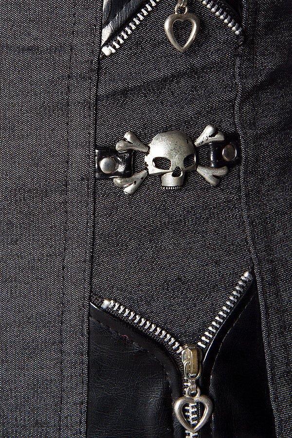 Piraten-Steampunk-Corsage schwarz mit Hakenschliessen