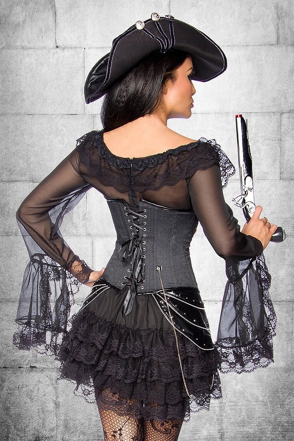 Piratenkleid / Long-Bluse schwarz
