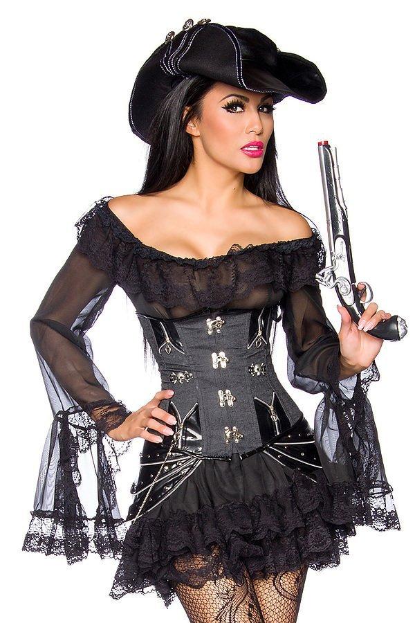 Piratenkleid / Long-Bluse schwarz