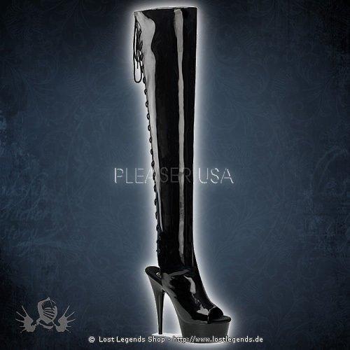 Pleaser DELIGHT-3017 Schwarz Stretch Lack