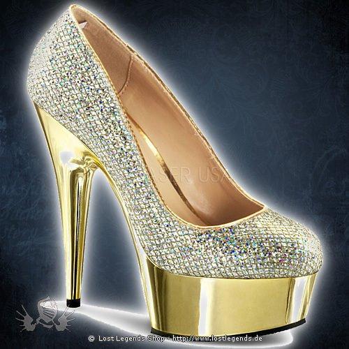Pleaser DELIGHT-685G Gold Multi Glitter-Gold Chrom