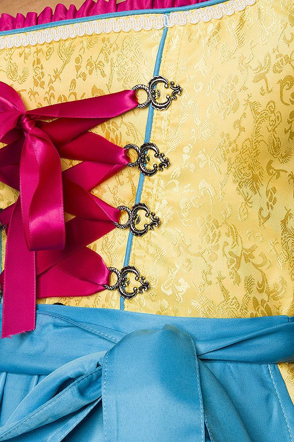 Premium Dirndl gelb/blau/pink