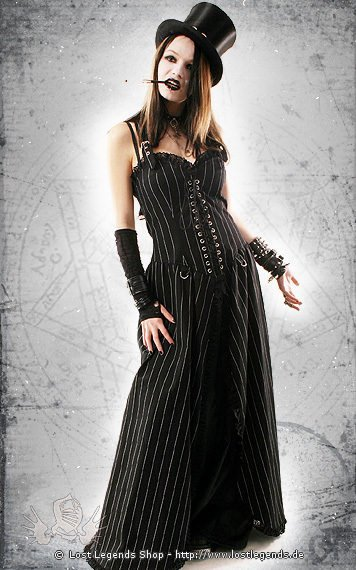 Punk Long Dress Kleid, Pin Stripe