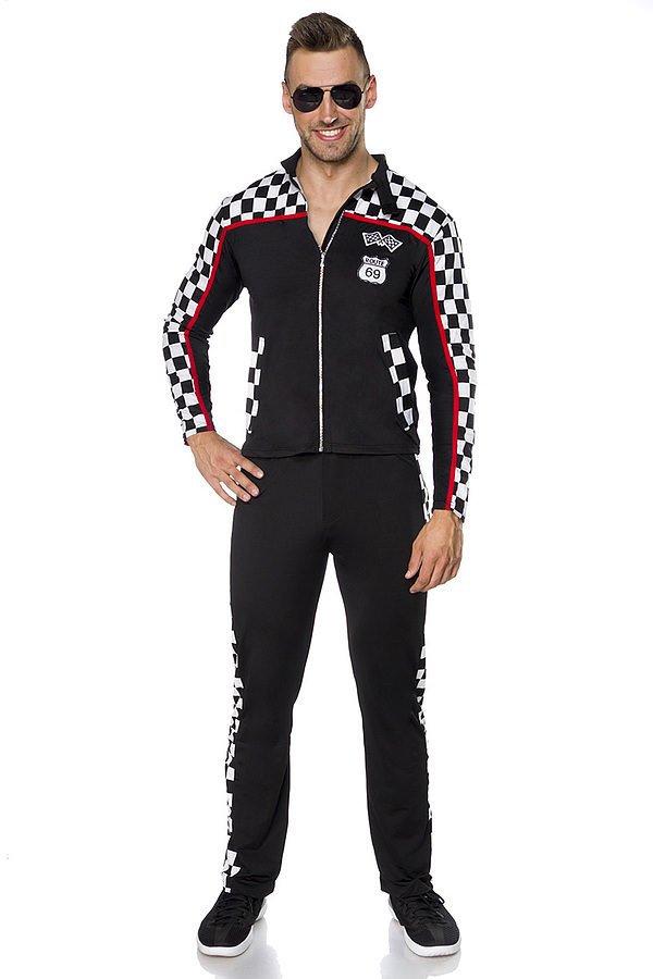 Racer Kostüm Men schwarz/weiß