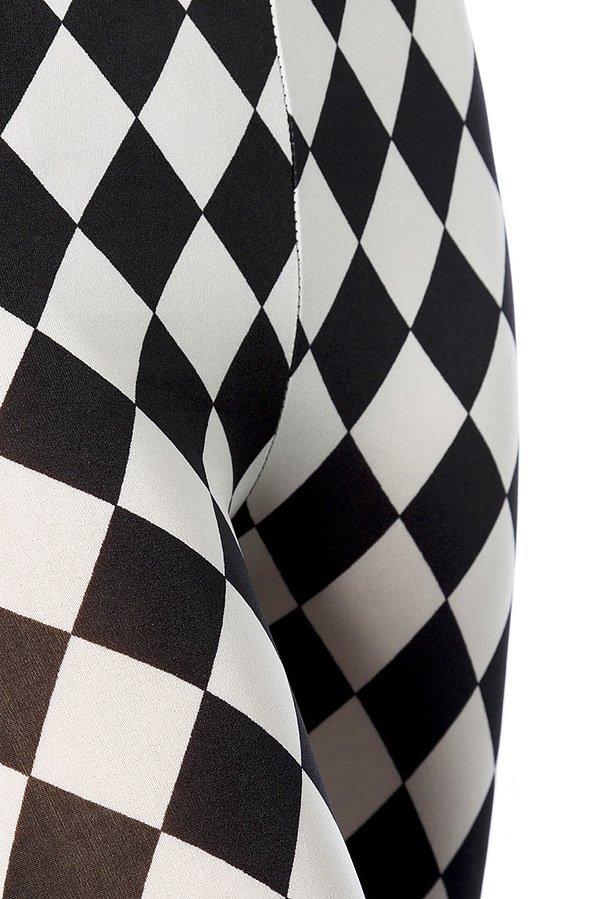 Rautenleggings schwarz/weiß