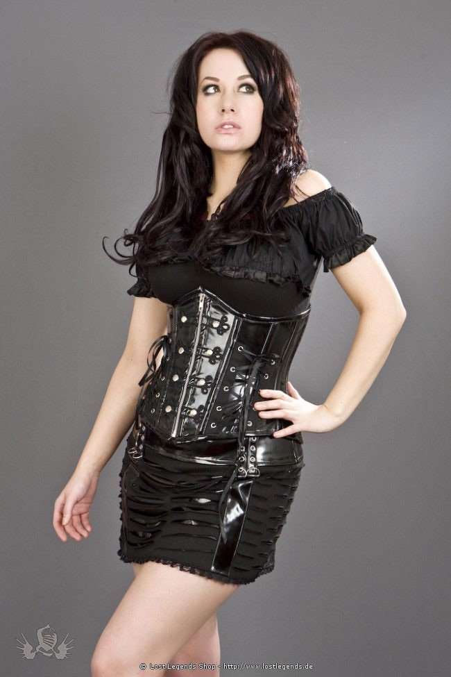 Razor mini skirt black PVC