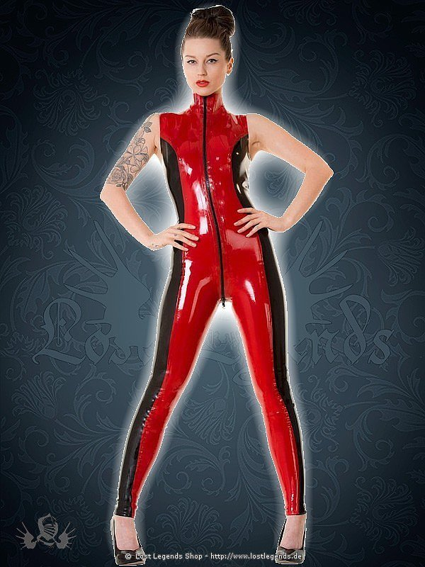 Red & Black Widow Latex Catsuit