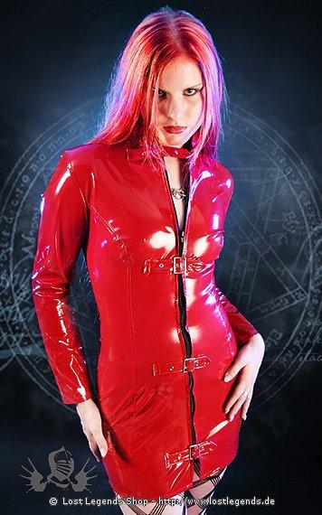 Red Longsleeve Buckle Dress Kleid, Lack