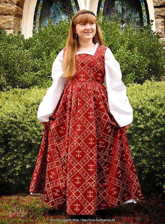 Renaissance Kinderkleid weinrot