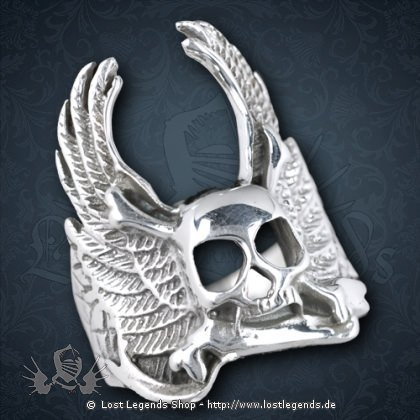 Ring Geflügelter Totenkopf Silber