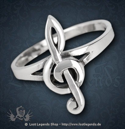 Ring mit Notenschlüssel Silber