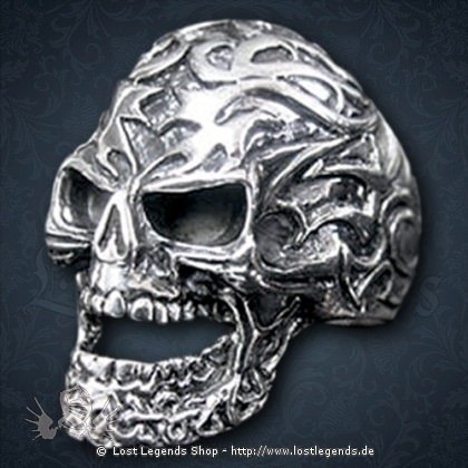 Ring Tribal-Skull Silber