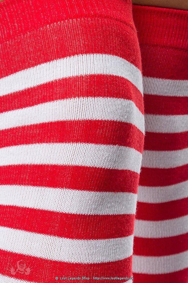 Ringel-Overknees rot/weiß