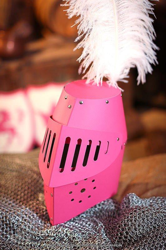 Ritterhelm Princess pink, mit weißer Feder