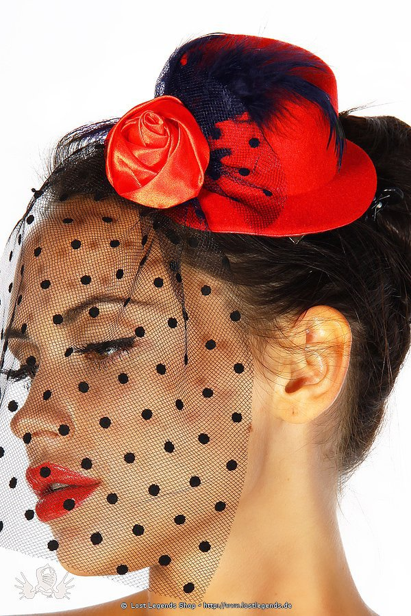 Rockabilly-Minihut / Fascinator rot