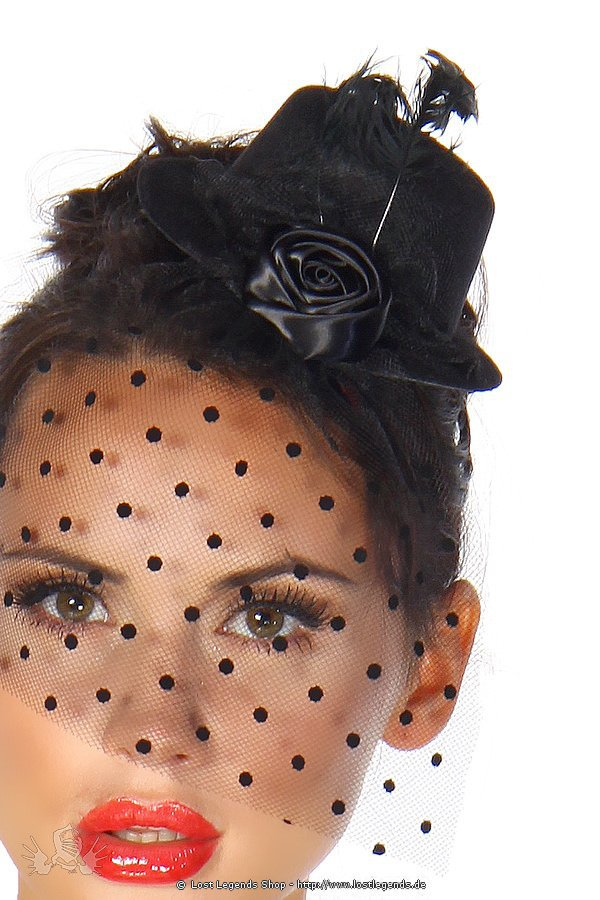 Rockabilly-Minihut / Fascinator schwarz