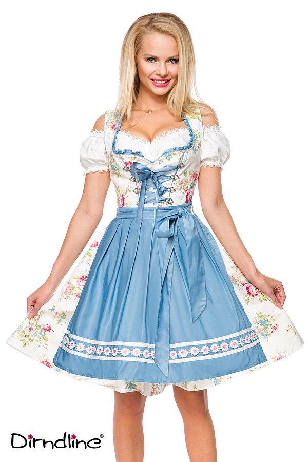 Romantisches Blümchen-Dirndl weiß/blau