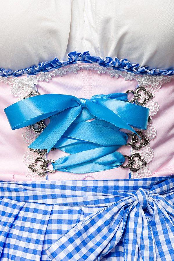 Romantisches Unterbrustdirndl rosa/blau