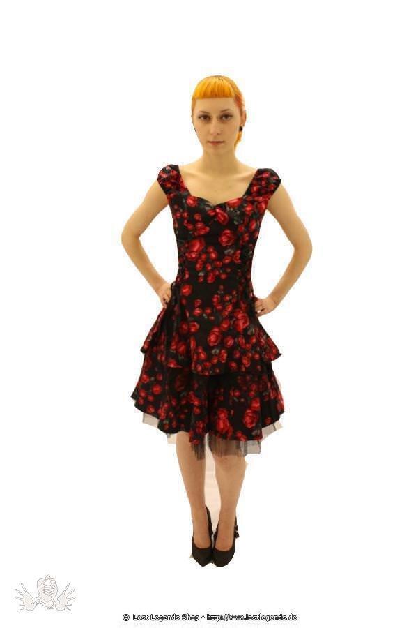 Rose Layered Gothic Pinup Kleid