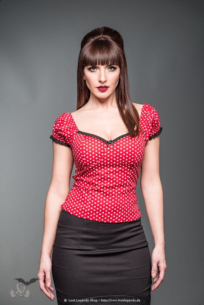 Rotes Rockabilly Top mit Polka Dots