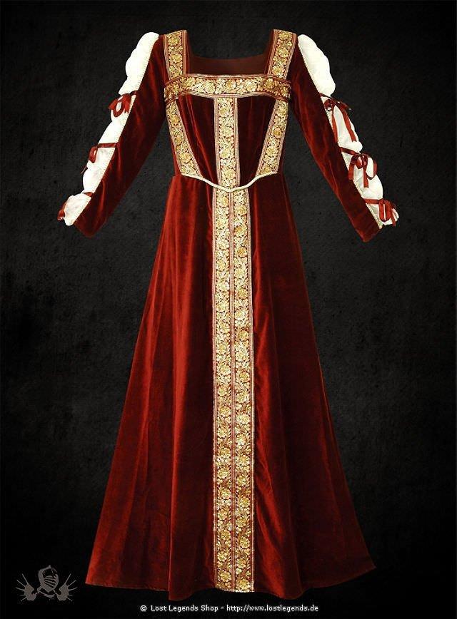 Rotes Samtkleid mit gebundenen Ärmeln