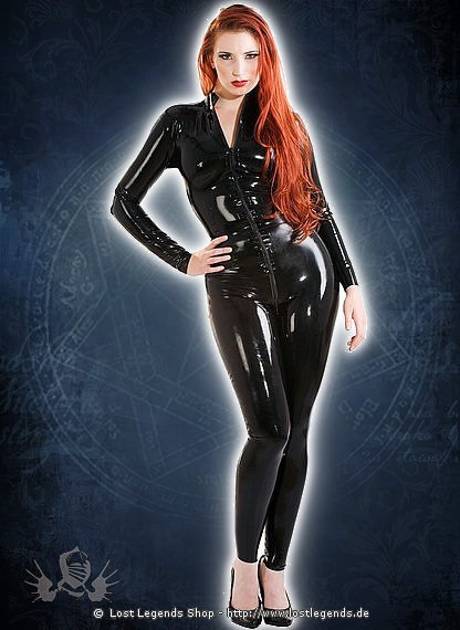 Rubber Front Zip Catsuit Latex