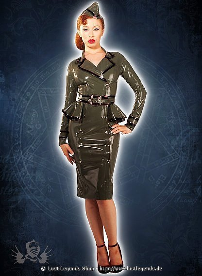 Rubber Military Jacket Dress Latex Kleid