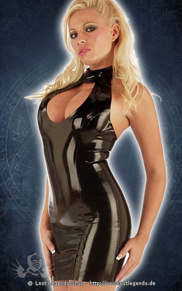 Rubber Teardrop Mini Dress Latex Kleid