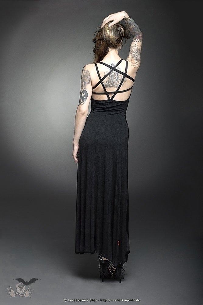 Rückenfreies Gothic Kleid mit Pentagramm