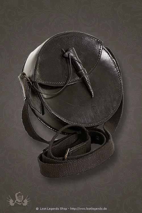 Runde Ledertasche in braun und schwarz