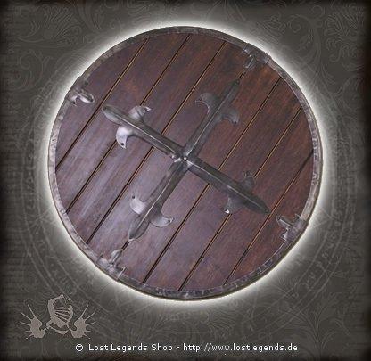Rundschild aus Holz mit dekorativem Stahlbeschlag