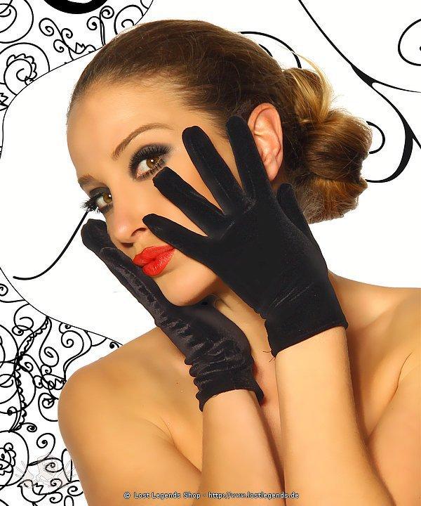 Samt-Handschuhe kurz schwarz