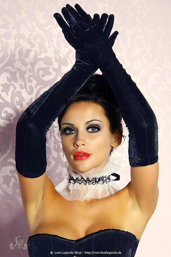 Samt-Handschuhe lang schwarz