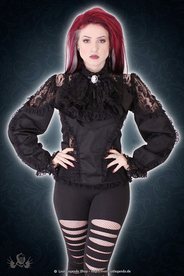 Satin noir lace frill victorian Bluse