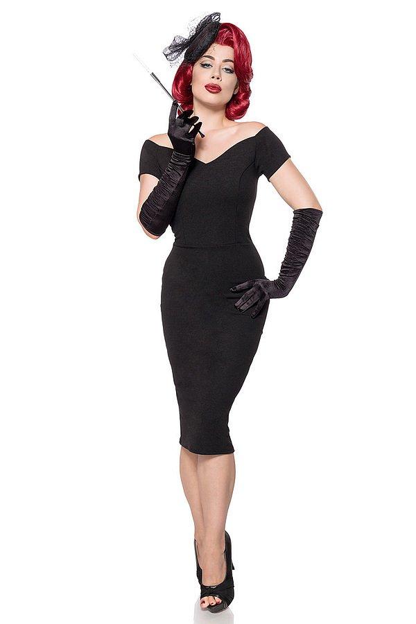 schulterfreies Kleid schwarz
