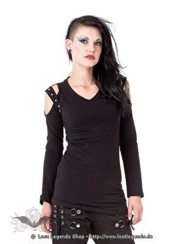 Schulterfreies Shirt mit V-Ausschnitt Nieten