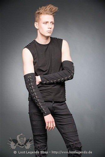 Schwarze Armstulpen mit Ringen