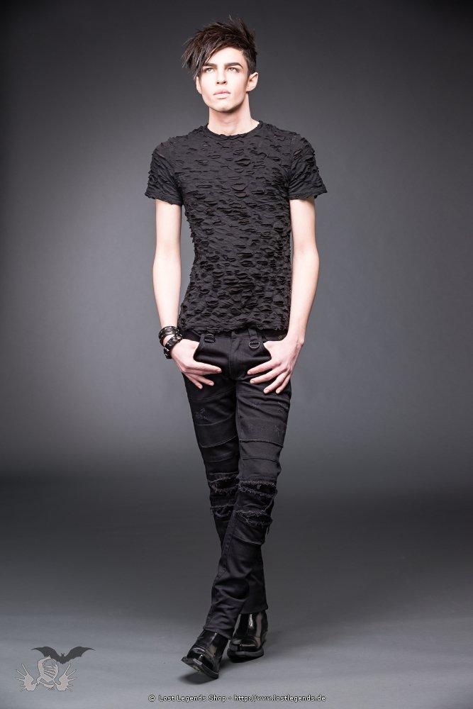 Schwarze Hose mit Schlitzen