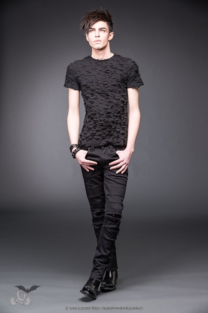 Black pants with slits