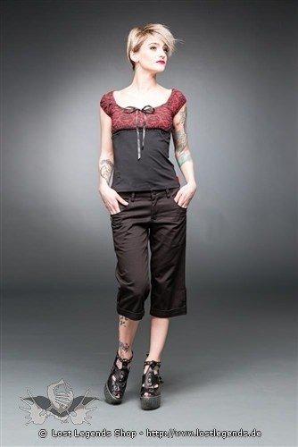 Schwarze knielange Hose
