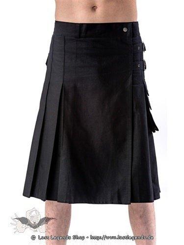 Schwarzer Kilt mit Schnallen und Seitentasche