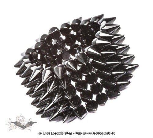 Schwarzes 5-reihiges Armand mit Nieten aus Plastik