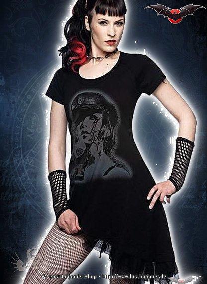 Schwarzes Gothic Kleid mit Punk Motiv
