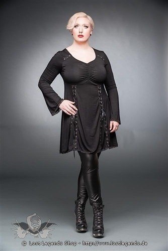 Schwarzes Kleid mit V-Ausschnitt und Schnürung