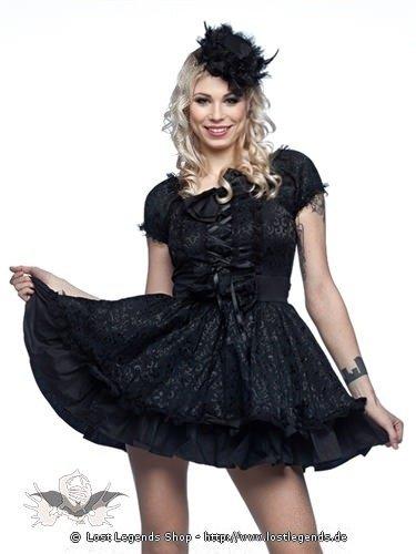 Schwarzes Lolita Kleid mit Schleppe