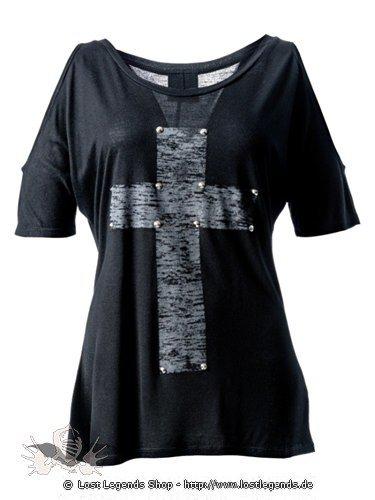 Schwarzes Shirt  mit großem Kreuzaufdruck