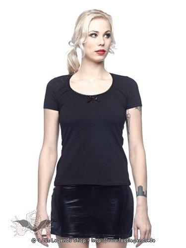 Schwarzes Shirt mit Schleife und Rose