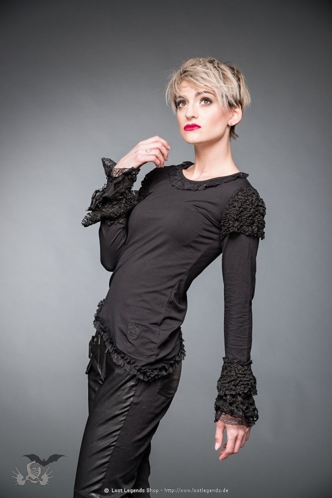 Black shirt with lace on arms and hem