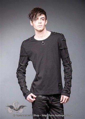 Schwarzes Shirt mit vielen Ringen und Nieten