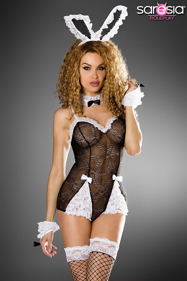 sexy Bunny-Kostüm von Saresia roleplay schwarz/weiß